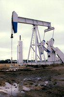 Large pump jack in pumping of crude from a working field. In the background is a condenser for natural gas collection.