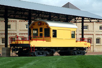 Yellow brewery train is on display on the Pearl Brewery grounds.
