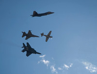Heritage flight of the military's new, present, and past 60 years of aircraft fighter fleet service.