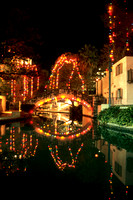 San Antonio Riverwalk Bridge decorated in Christmas Lights for the Annual Holiday Season.