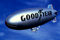 The Goodyear Blimp is returning to the hanger after day or cruising the skies.